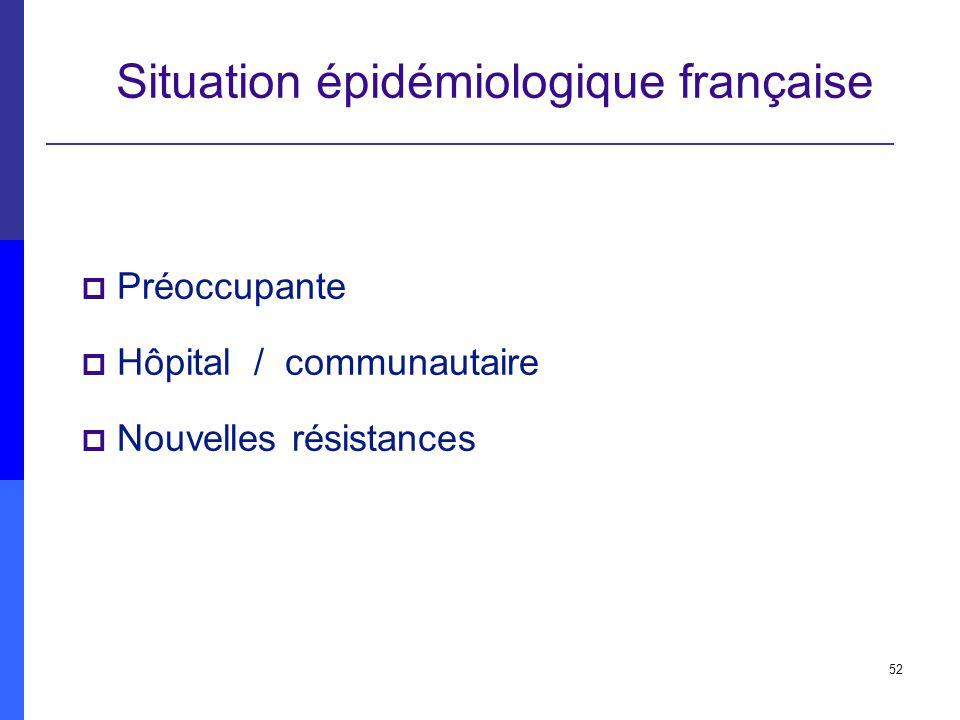 52 Situation épidémiologique française Préoccupante Hôpital / communautaire Nouvelles résistances