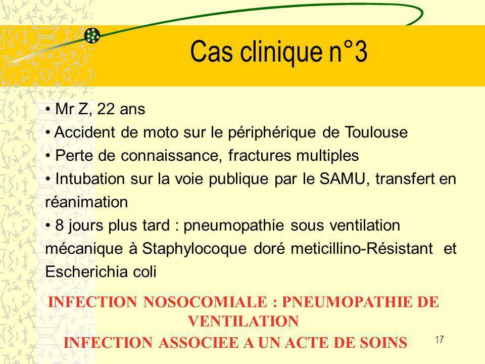 16 Cas clinique n°2 Patiente de 52 ans traumatisée médullaire suite à un accident de la route hospitalisée en réeducation fonctionnelle. Sonde urinair
