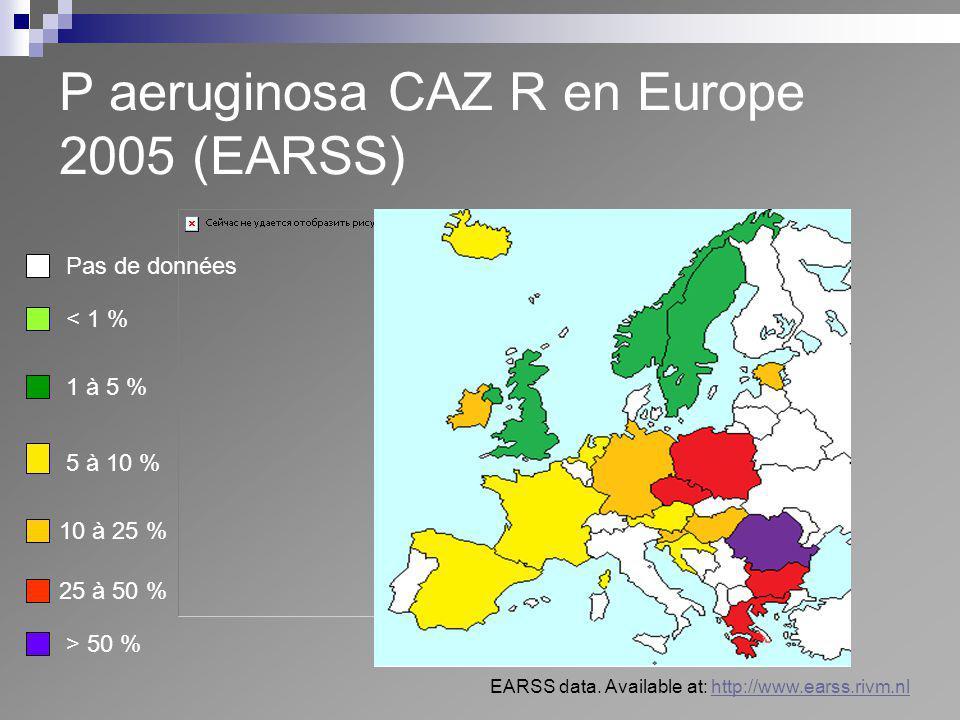 P aeruginosa CAZ R en Europe 2005 (EARSS) Pas de données < 1 % 1 à 5 % 10 à 25 % 25 à 50 % > 50 % 5 à 10 % EARSS data. Available at: http://www.earss.