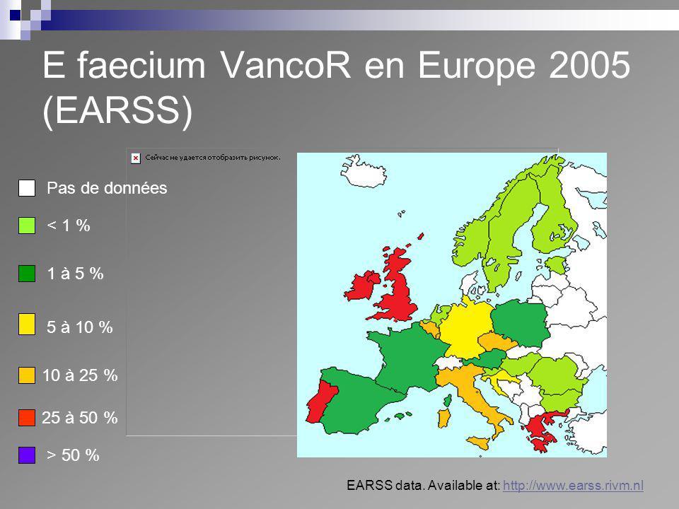 E faecium VancoR en Europe 2005 (EARSS) Pas de données < 1 % 1 à 5 % 10 à 25 % 25 à 50 % > 50 % 5 à 10 % EARSS data. Available at: http://www.earss.ri