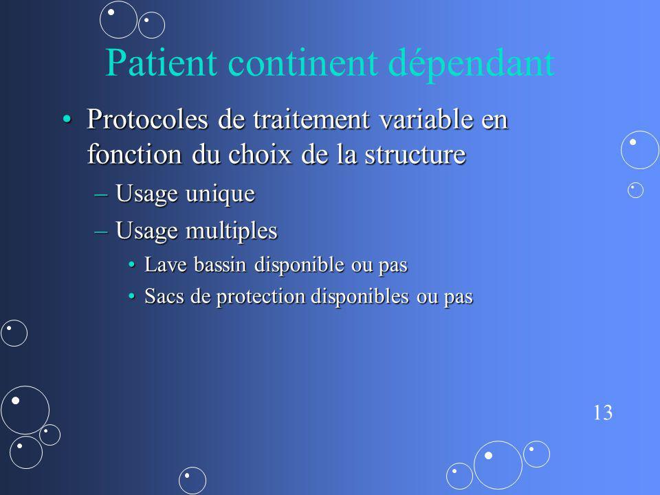 13 Patient continent dépendant Protocoles de traitement variable en fonction du choix de la structureProtocoles de traitement variable en fonction du