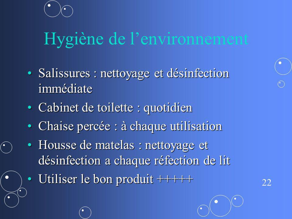 22 Hygiène de lenvironnement Salissures : nettoyage et désinfection immédiateSalissures : nettoyage et désinfection immédiate Cabinet de toilette : qu