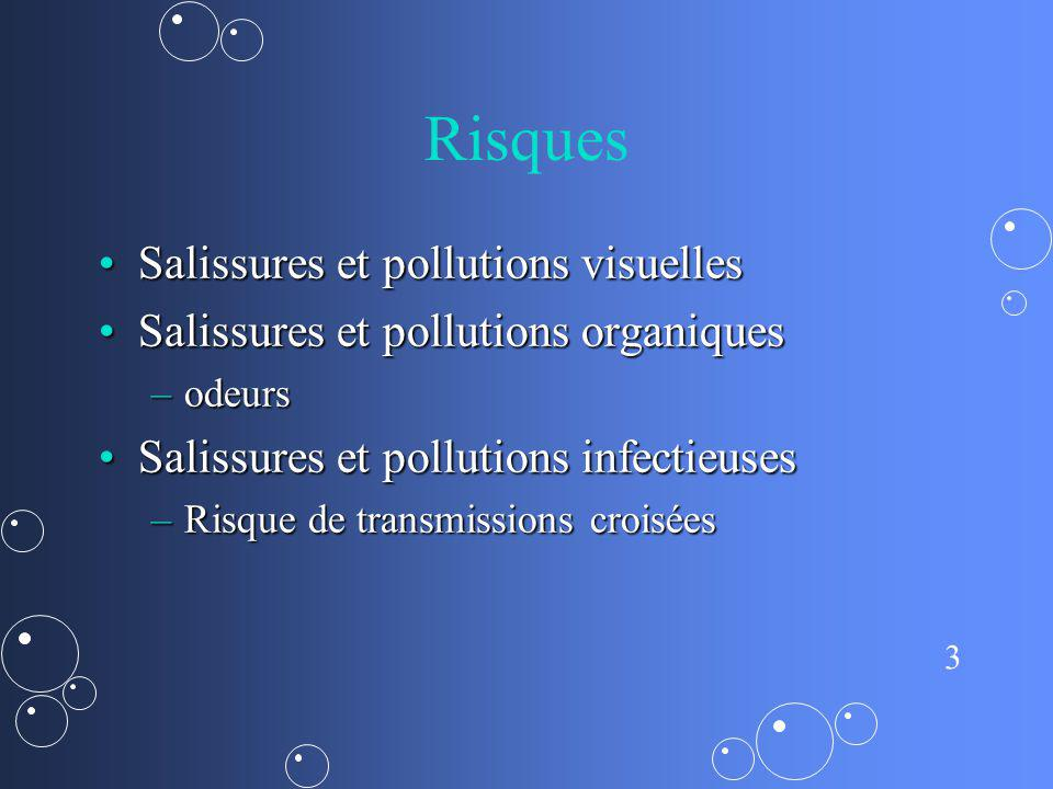 3 Risques Salissures et pollutions visuellesSalissures et pollutions visuelles Salissures et pollutions organiquesSalissures et pollutions organiques