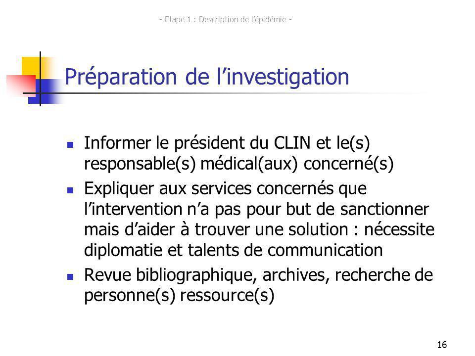 16 Préparation de linvestigation Informer le président du CLIN et le(s) responsable(s) médical(aux) concerné(s) Expliquer aux services concernés que l