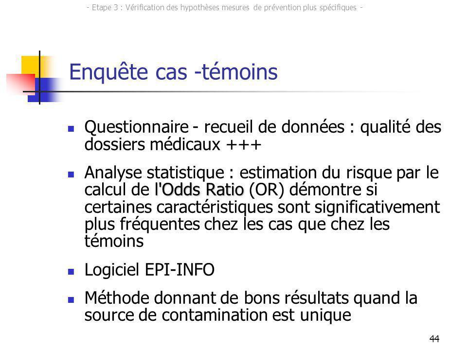 44 Questionnaire - recueil de données : qualité des dossiers médicaux +++ l'Odds Ratio Analyse statistique : estimation du risque par le calcul de l'O