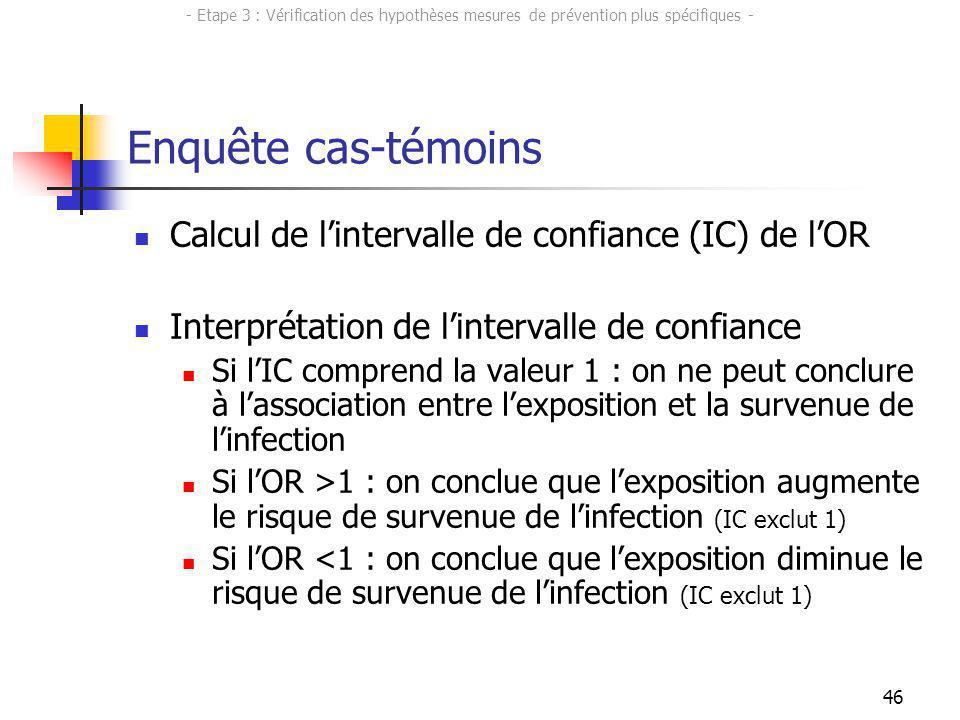 46 Enquête cas-témoins Calcul de lintervalle de confiance (IC) de lOR Interprétation de lintervalle de confiance Si lIC comprend la valeur 1 : on ne p