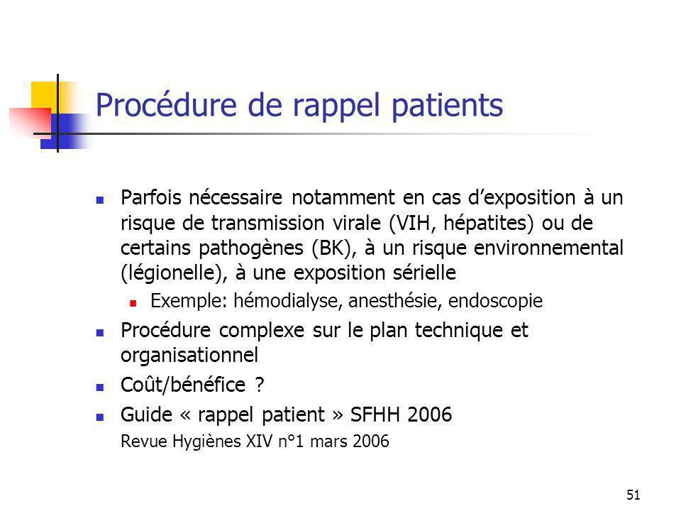 51 Procédure de rappel patients Parfois nécessaire notamment en cas dexposition à un risque de transmission virale (VIH, hépatites) ou de certains pat