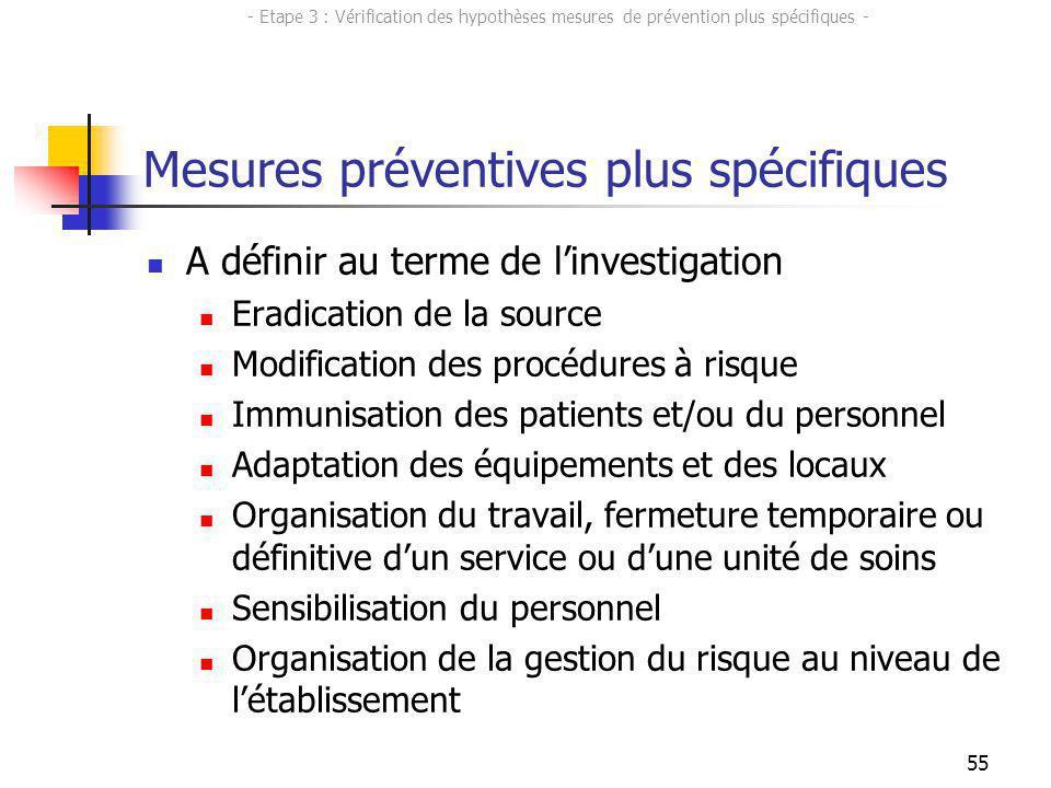 55 Mesures préventives plus spécifiques A définir au terme de linvestigation Eradication de la source Modification des procédures à risque Immunisatio