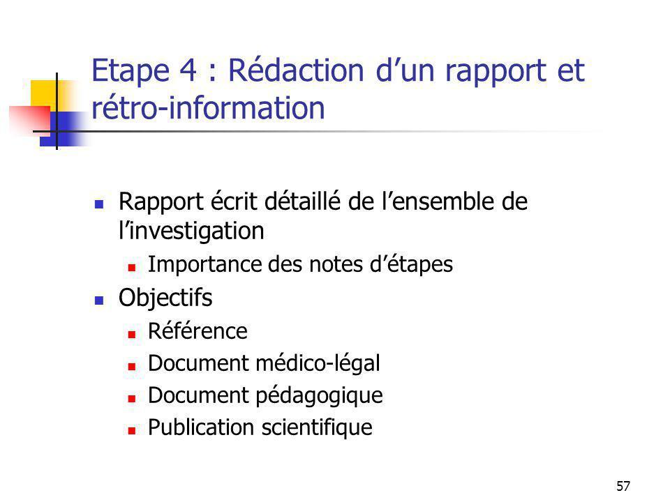 57 Etape 4 : Rédaction dun rapport et rétro-information Rapport écrit détaillé de lensemble de linvestigation Importance des notes détapes Objectifs R
