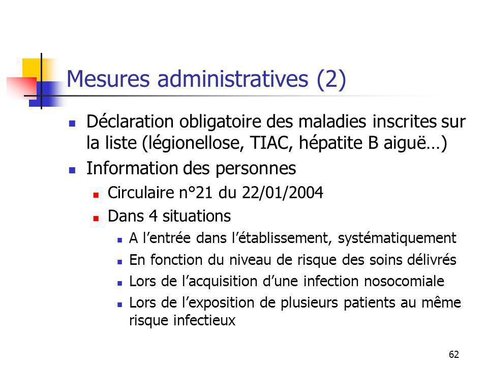 62 Mesures administratives (2) Déclaration obligatoire des maladies inscrites sur la liste (légionellose, TIAC, hépatite B aiguë…) Information des per