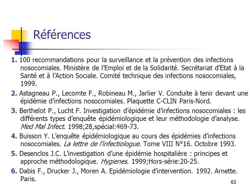 63 Références 1. 100 recommandations pour la surveillance et la prévention des infections nosocomiales. Ministère de lEmploi et de la Solidarité. Secr
