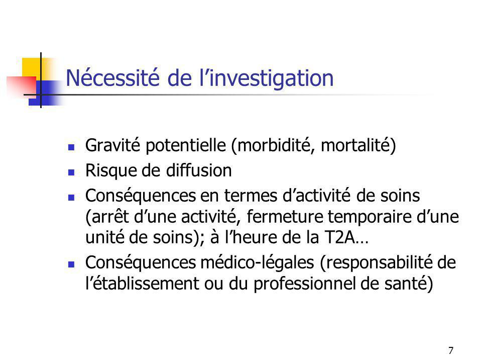 7 Nécessité de linvestigation Gravité potentielle (morbidité, mortalité) Risque de diffusion Conséquences en termes dactivité de soins (arrêt dune act
