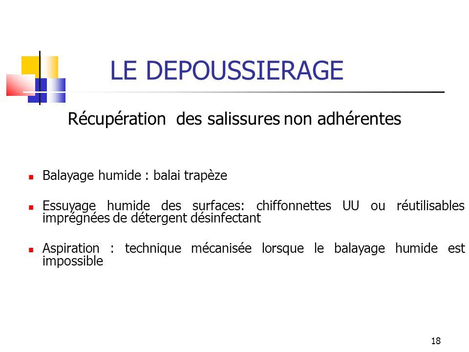 18 LE DEPOUSSIERAGE Récupération des salissures non adhérentes Balayage humide : balai trapèze Essuyage humide des surfaces: chiffonnettes UU ou réuti