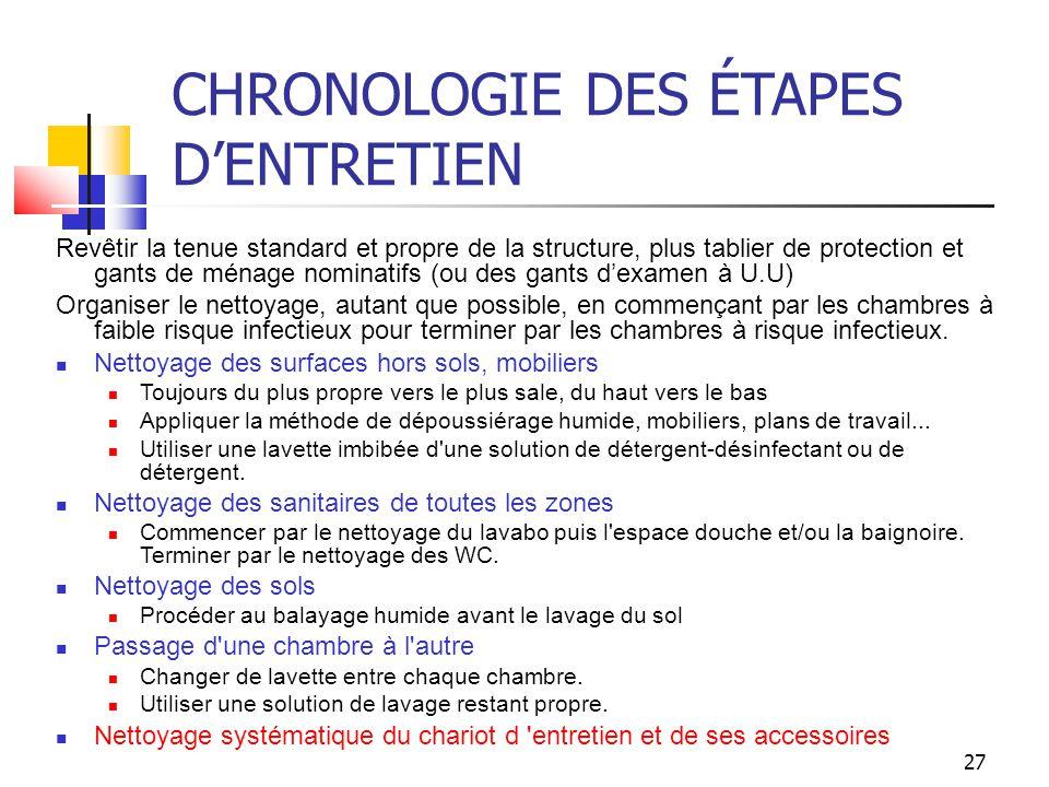 27 CHRONOLOGIE DES ÉTAPES DENTRETIEN Revêtir la tenue standard et propre de la structure, plus tablier de protection et gants de ménage nominatifs (ou