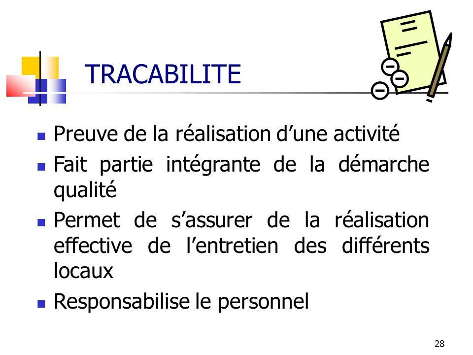 28 TRACABILITE Preuve de la réalisation dune activité Fait partie intégrante de la démarche qualité Permet de sassurer de la réalisation effective de
