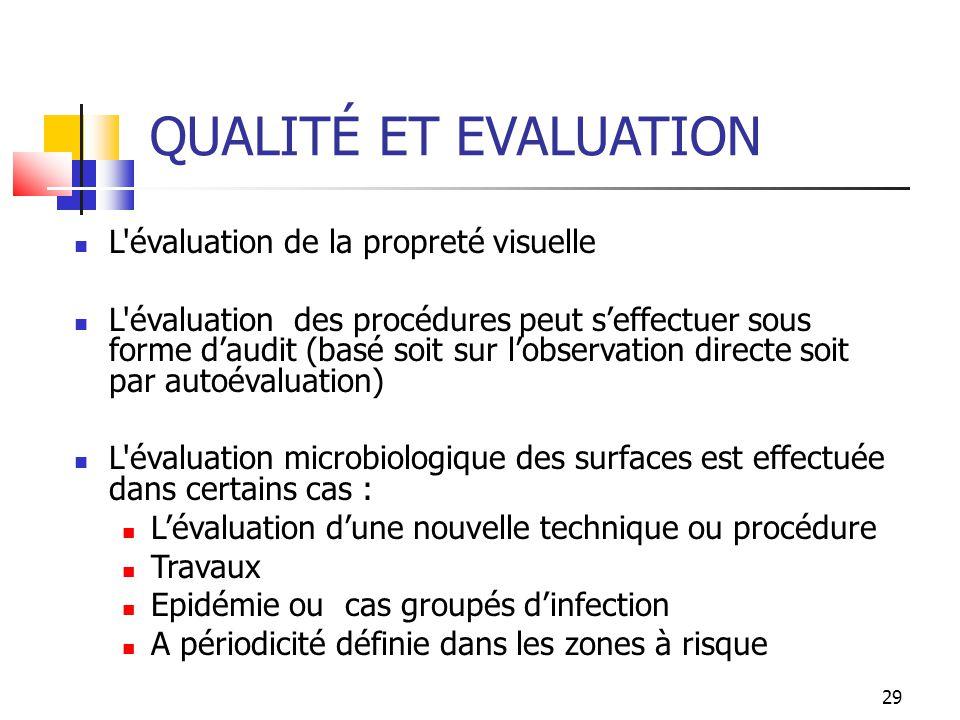 29 QUALITÉ ET EVALUATION L'évaluation de la propreté visuelle L'évaluation des procédures peut seffectuer sous forme daudit (basé soit sur lobservatio
