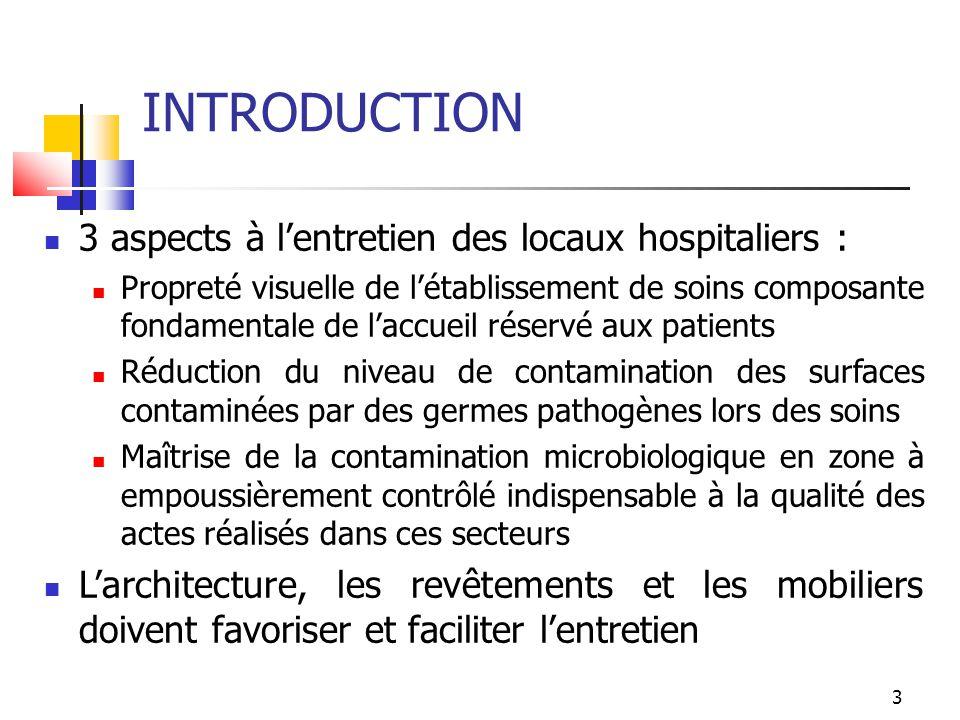 3 INTRODUCTION 3 aspects à lentretien des locaux hospitaliers : Propreté visuelle de létablissement de soins composante fondamentale de laccueil réser