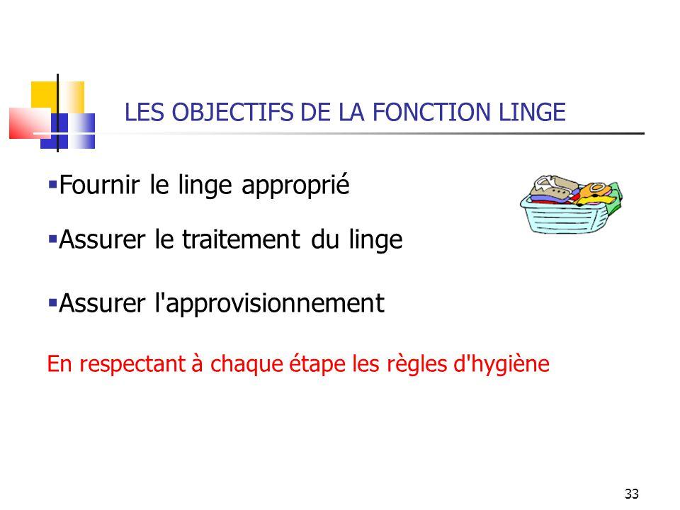 33 LES OBJECTIFS DE LA FONCTION LINGE Fournir le linge approprié Assurer le traitement du linge Assurer l'approvisionnement En respectant à chaque éta