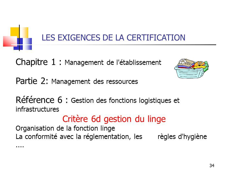 34 LES EXIGENCES DE LA CERTIFICATION Chapitre 1 : Management de l'établissement Partie 2: Management des ressources Référence 6 : Gestion des fonction