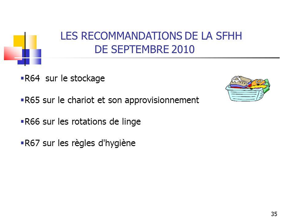 35 LES RECOMMANDATIONS DE LA SFHH DE SEPTEMBRE 2010 R64 sur le stockage R65 sur le chariot et son approvisionnement R66 sur les rotations de linge R67