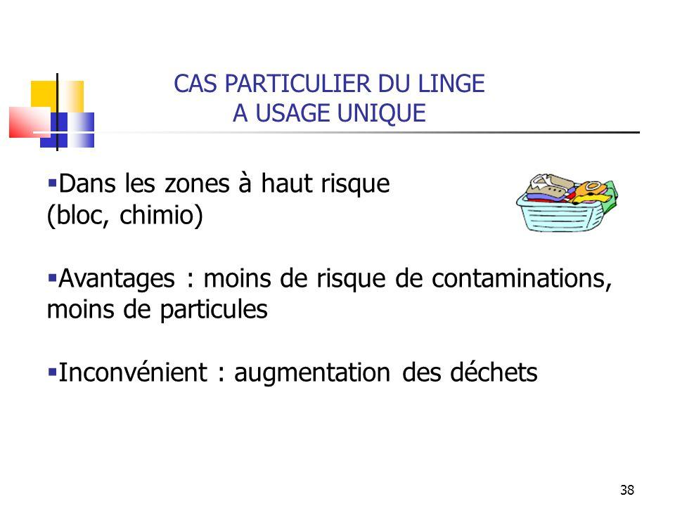 38 CAS PARTICULIER DU LINGE A USAGE UNIQUE Dans les zones à haut risque (bloc, chimio) Avantages : moins de risque de contaminations, moins de particu