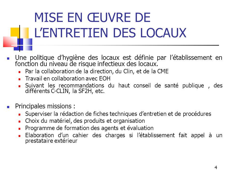 5 PRINCIPAUX GUIDES DE REFERENCE SFHH -Surveiller et Prévenir les infections associées aux soins recommandations R60 à R63 (2010) -Liste positive des désinfectants (2009) CCLIN SUD OUEST -Entretien des locaux dans les établissements de santé (2005) -Recommandations pour l entretien des blocs opératoires (2006) MINISTERE DE LA SANTE -Surveillance microbiologique de l environnement dans les établissements de santé Eau Air Surfaces (2002)