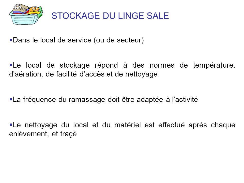 STOCKAGE DU LINGE SALE Dans le local de service (ou de secteur) Le local de stockage répond à des normes de température, d'aération, de facilité d'acc