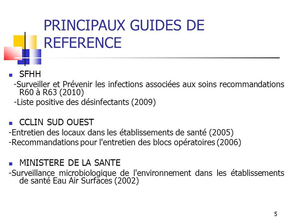 5 PRINCIPAUX GUIDES DE REFERENCE SFHH -Surveiller et Prévenir les infections associées aux soins recommandations R60 à R63 (2010) -Liste positive des
