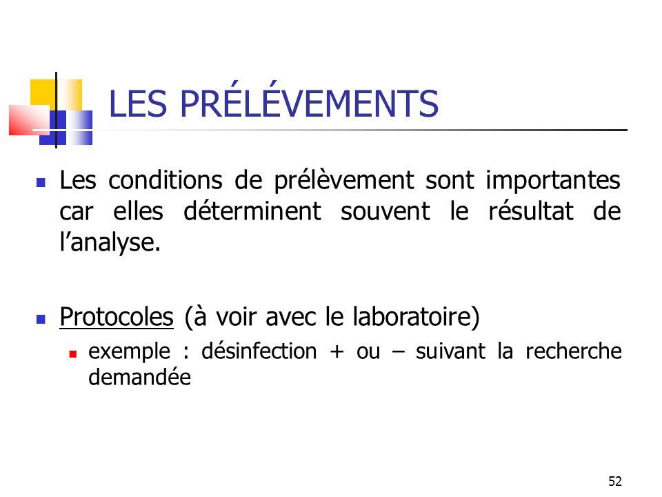52 LES PRÉLÉVEMENTS Les conditions de prélèvement sont importantes car elles déterminent souvent le résultat de lanalyse. Protocoles (à voir avec le l