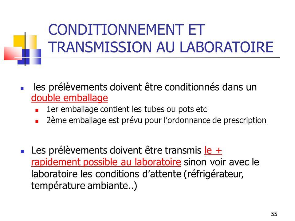 55 CONDITIONNEMENT ET TRANSMISSION AU LABORATOIRE les prélèvements doivent être conditionnés dans un double emballage 1er emballage contient les tubes
