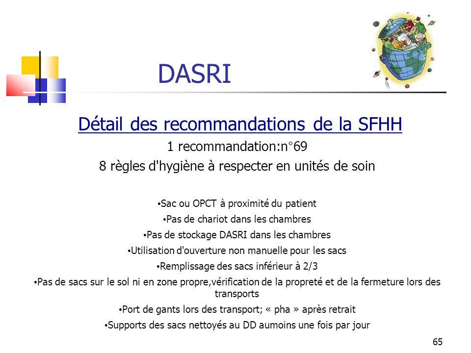 65 DASRI Détail des recommandations de la SFHH 1 recommandation:n°69 8 règles d'hygiène à respecter en unités de soin Sac ou OPCT à proximité du patie