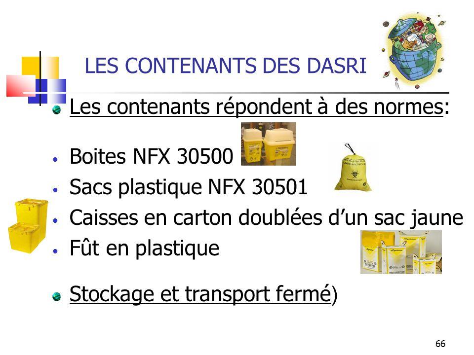 66 LES CONTENANTS DES DASRI Les contenants répondent à des normes: Boites NFX 30500 Sacs plastique NFX 30501 Caisses en carton doublées dun sac jaune