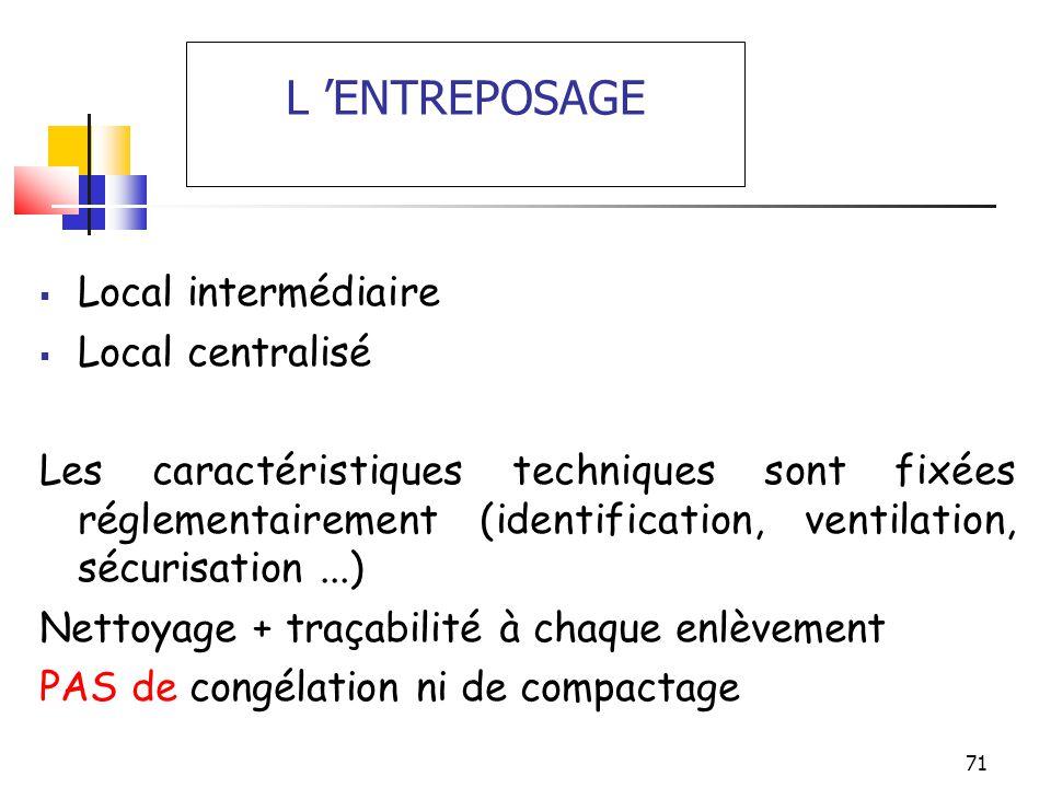 71 L ENTREPOSAGE Local intermédiaire Local centralisé Les caractéristiques techniques sont fixées réglementairement (identification, ventilation, sécu