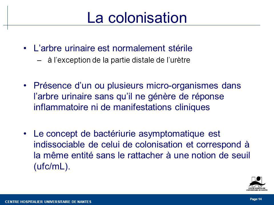 CENTRE HOSPITALIER UNIVERSITAIRE DE NANTES Page 14 La colonisation Larbre urinaire est normalement stérile – à lexception de la partie distale de lurètre Présence dun ou plusieurs micro-organismes dans larbre urinaire sans quil ne génère de réponse inflammatoire ni de manifestations cliniques Le concept de bactériurie asymptomatique est indissociable de celui de colonisation et correspond à la même entité sans le rattacher à une notion de seuil (ufc/mL).