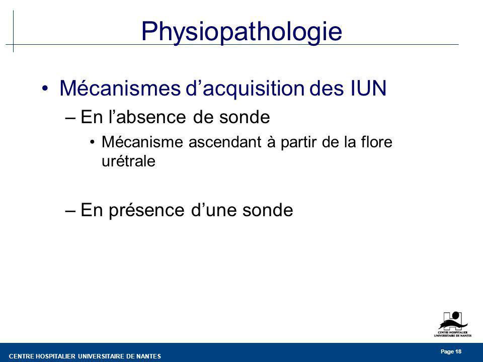 CENTRE HOSPITALIER UNIVERSITAIRE DE NANTES Page 18 Physiopathologie Mécanismes dacquisition des IUN –En labsence de sonde Mécanisme ascendant à partir de la flore urétrale –En présence dune sonde