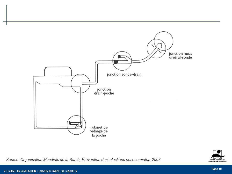 CENTRE HOSPITALIER UNIVERSITAIRE DE NANTES Page 19 Source: Organisation Mondiale de la Santé, Prévention des infections nosocomiales, 2008