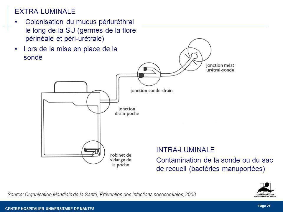 CENTRE HOSPITALIER UNIVERSITAIRE DE NANTES Page 21 Source: Organisation Mondiale de la Santé, Prévention des infections nosocomiales, 2008 EXTRA-LUMINALE Colonisation du mucus périuréthral le long de la SU (germes de la flore périnéale et péri-urétrale) Lors de la mise en place de la sonde INTRA-LUMINALE Contamination de la sonde ou du sac de recueil (bactéries manuportées)