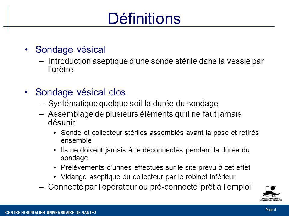 CENTRE HOSPITALIER UNIVERSITAIRE DE NANTES Page 16 Infection urinaire