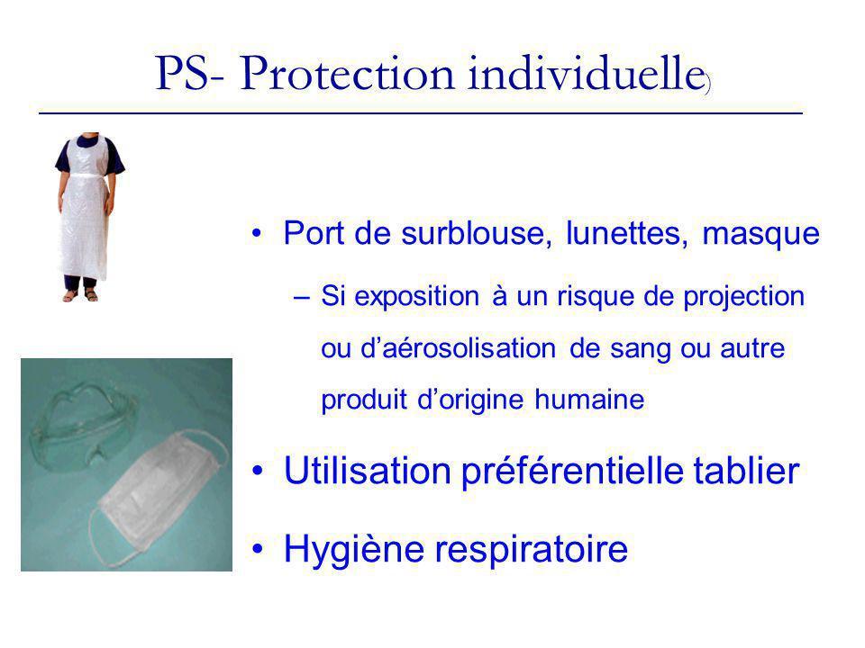 PS- Protection individuelle ) Port de surblouse, lunettes, masque –Si exposition à un risque de projection ou daérosolisation de sang ou autre produit