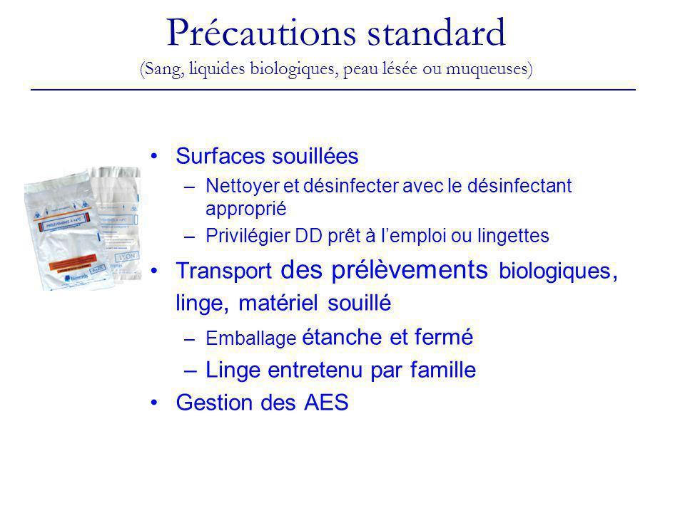 Précautions standard (Sang, liquides biologiques, peau lésée ou muqueuses) Surfaces souillées –Nettoyer et désinfecter avec le désinfectant approprié