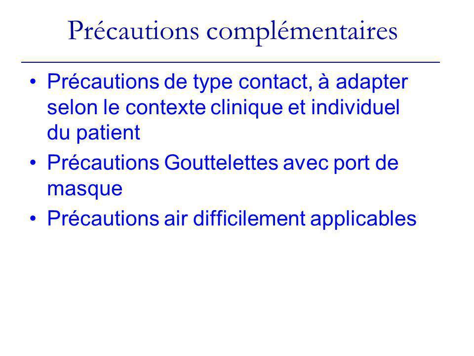 Précautions complémentaires Précautions de type contact, à adapter selon le contexte clinique et individuel du patient Précautions Gouttelettes avec p