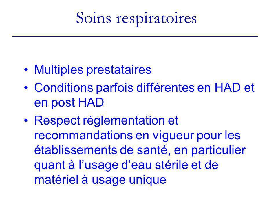 Soins respiratoires Multiples prestataires Conditions parfois différentes en HAD et en post HAD Respect réglementation et recommandations en vigueur p