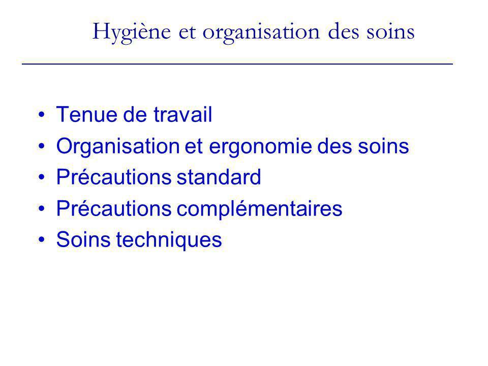 Tenue de travail Organisation et ergonomie des soins Précautions standard Précautions complémentaires Soins techniques Hygiène et organisation des soi