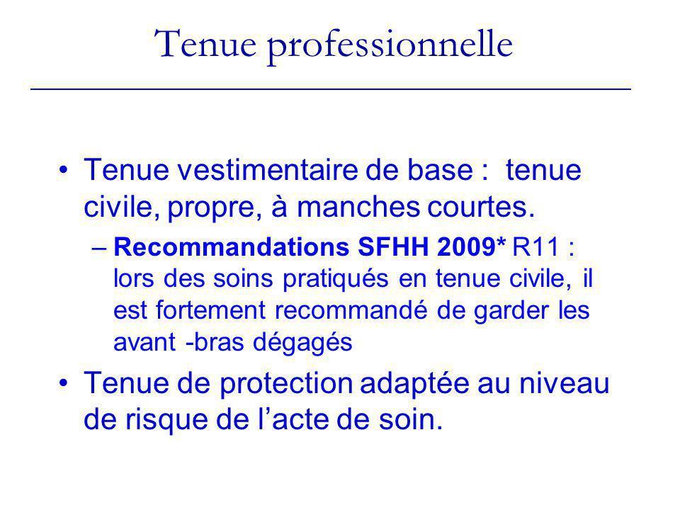 Tenue professionnelle Tenue vestimentaire de base : tenue civile, propre, à manches courtes. –Recommandations SFHH 2009* R11 : lors des soins pratiqué