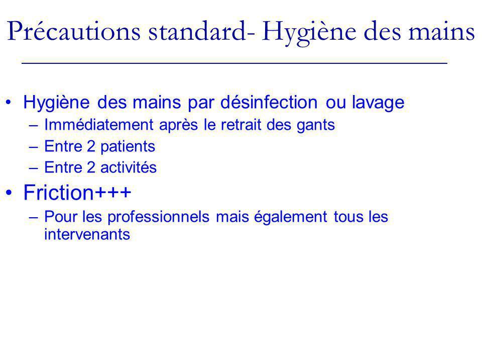 Précautions standard- Hygiène des mains Hygiène des mains par désinfection ou lavage –Immédiatement après le retrait des gants –Entre 2 patients –Entr
