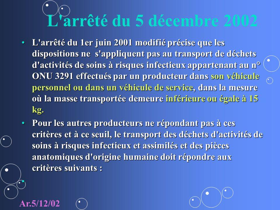 L'arrêté du 5 décembre 2002 L'arrêté du 1er juin 2001 modifié précise que les dispositions ne s'appliquent pas au transport de déchets d'activités de