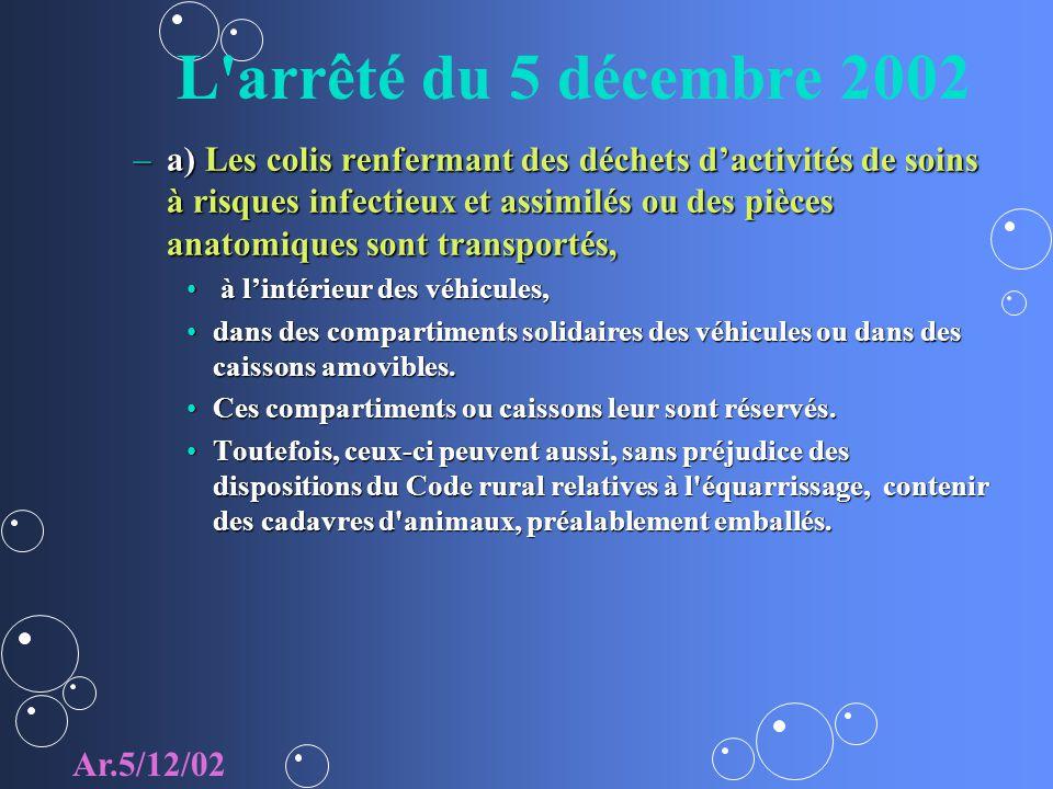 L'arrêté du 5 décembre 2002 –a) Les colis renfermant des déchets dactivités de soins à risques infectieux et assimilés ou des pièces anatomiques sont