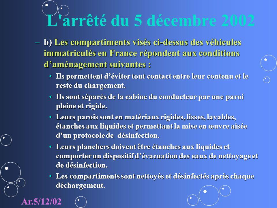 L'arrêté du 5 décembre 2002 –b) Les compartiments visés ci-dessus des véhicules immatriculés en France répondent aux conditions daménagement suivantes