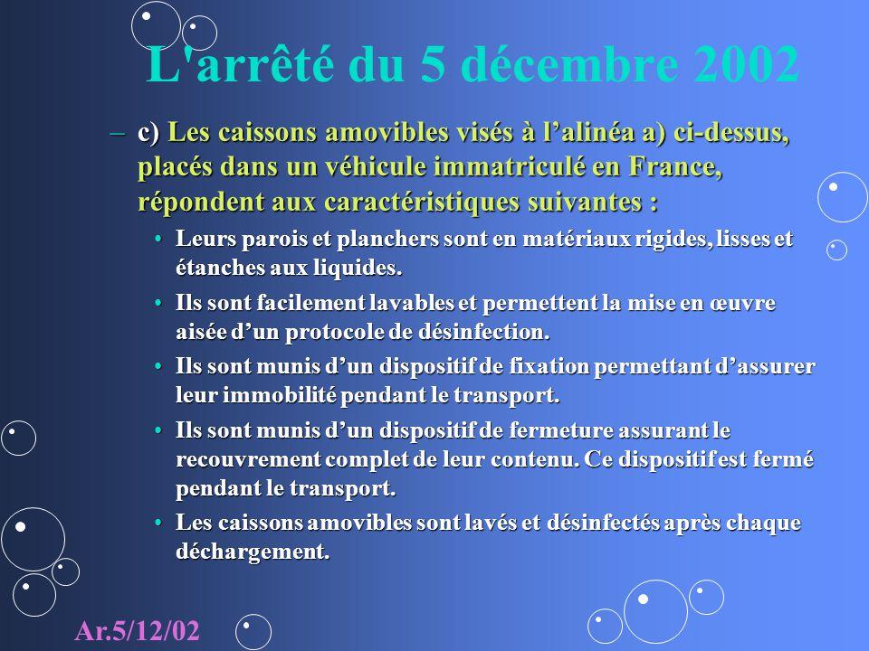 L'arrêté du 5 décembre 2002 –c) Les caissons amovibles visés à lalinéa a) ci-dessus, placés dans un véhicule immatriculé en France, répondent aux cara