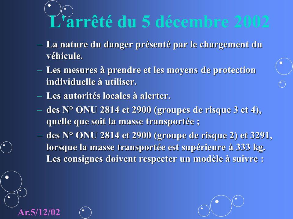 L'arrêté du 5 décembre 2002 –La nature du danger présenté par le chargement du véhicule. –Les mesures à prendre et les moyens de protection individuel